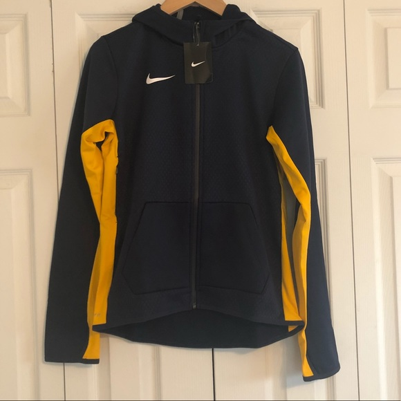 Nike Jackets & Blazers - NWT Nike Navy / Yellow Hooded Full ZIP Jacket S